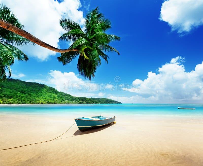 Boot auf Strand Mahe-Insel lizenzfreie stockfotografie