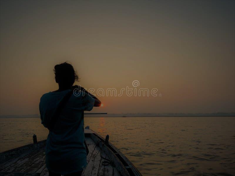 Boot beim Ganges, Varanasi lizenzfreie stockbilder