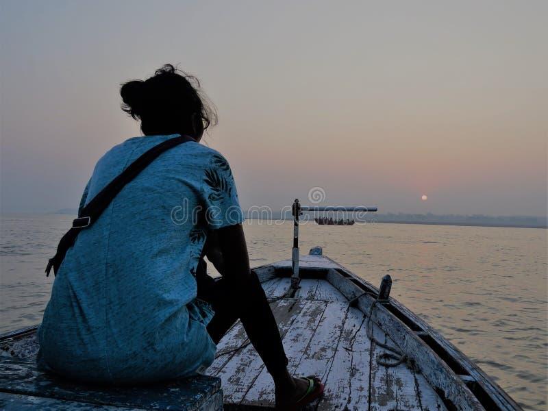 Boot beim Ganges, Varanasi stockbilder