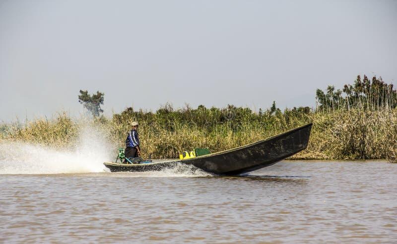 Boot bij meer Inle royalty-vrije stock fotografie