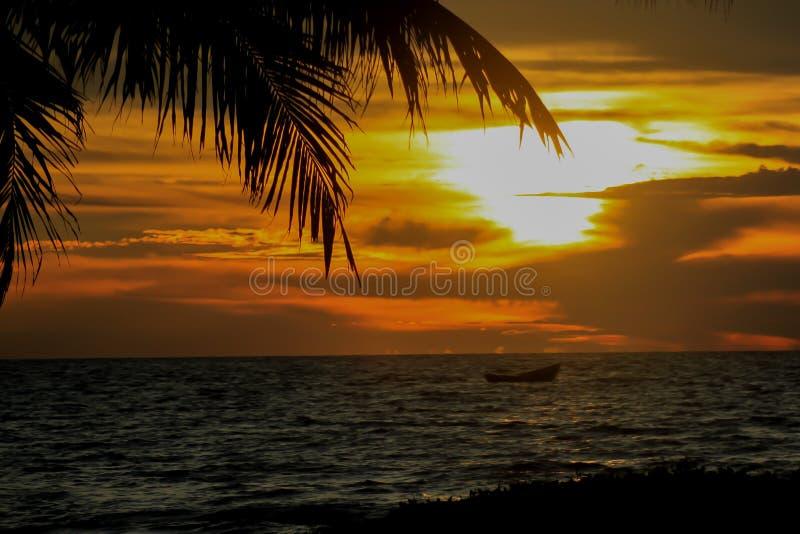 Boot bij zonsondergang royalty-vrije stock afbeelding