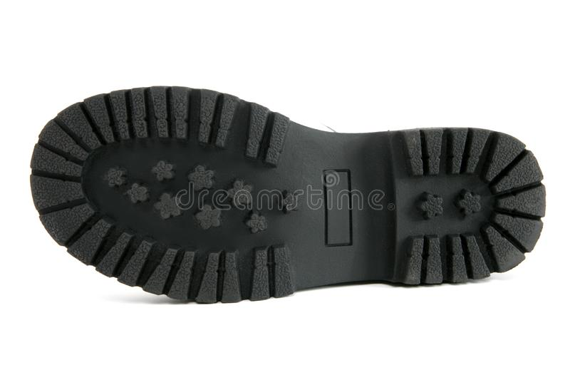 Boot black sole detail isolated on white stock images