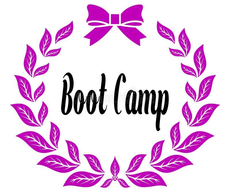 BOOT CAMP con la cinta y el arco rosados de los laureles ilustración del vector
