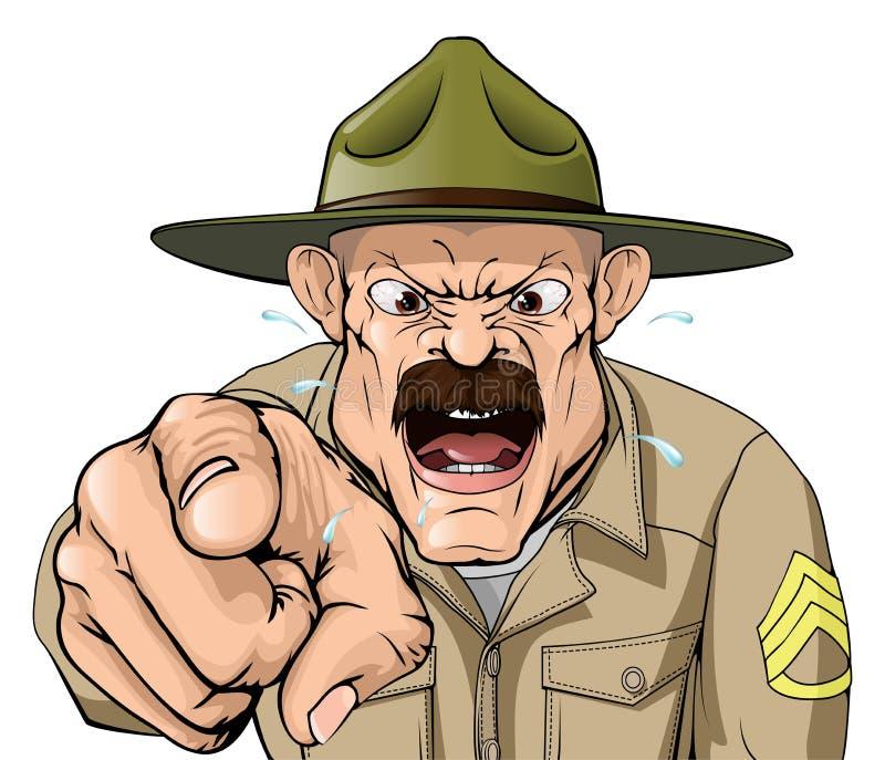 Boot Camp drillborrsergeant stock illustrationer
