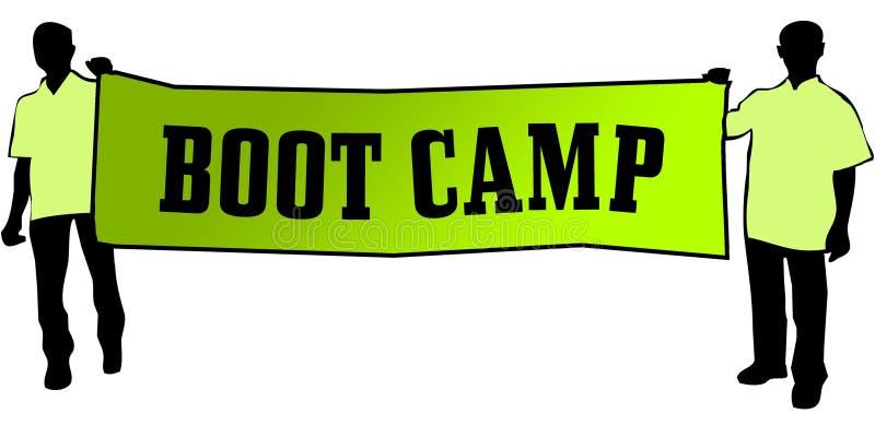 BOOT CAMP en una bandera verde llevó por dos hombres stock de ilustración