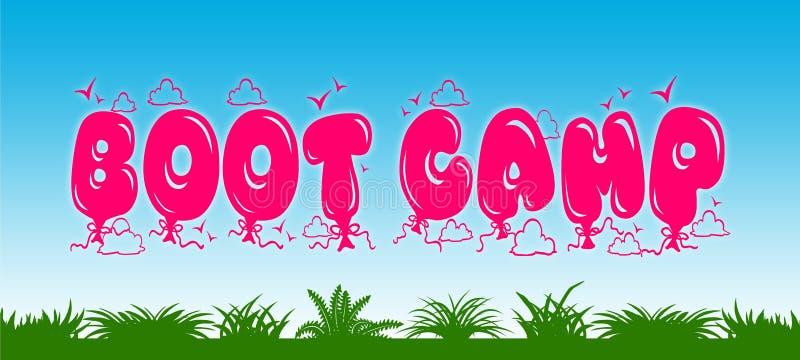 BOOT CAMP escrito con los globos rosados en fondo del cielo azul y de la hierba verde stock de ilustración