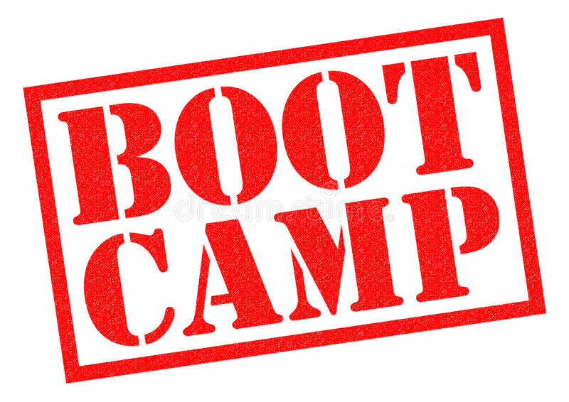 BOOT CAMP. Red Rubber Stamp over a white background stock illustration