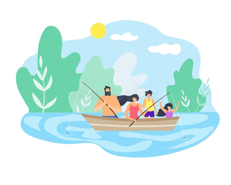 Boot, das hinunter Flussangeln-gutes Wetter schwimmt stock abbildung