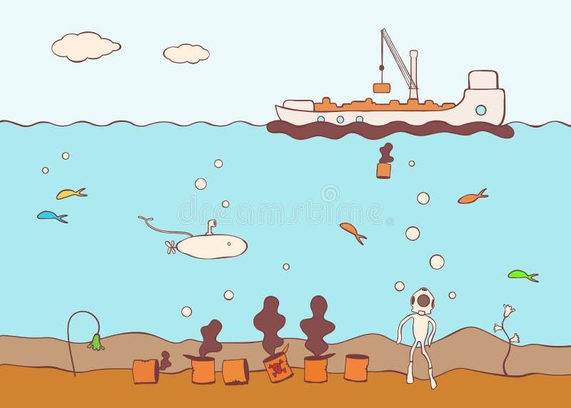 Boot die het overzees met giftig afval verontreinigt stock fotografie