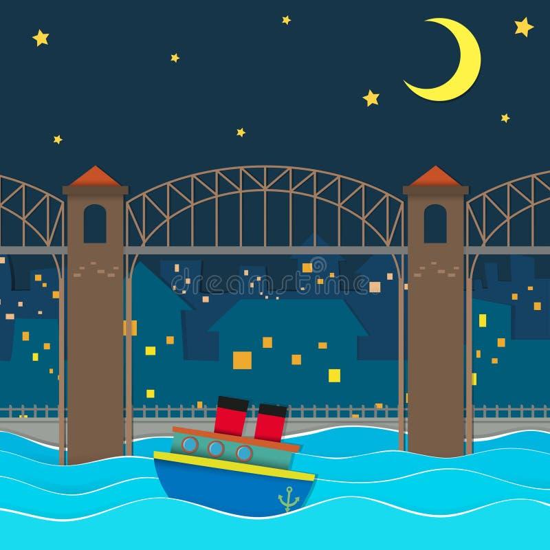 Boot die onder de brug bij nacht drijven stock illustratie