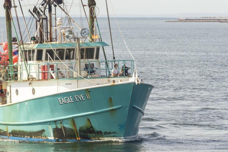Boot Eagle Eye der kommerziellen Fischerei II näherndes New-Bedford stockbild