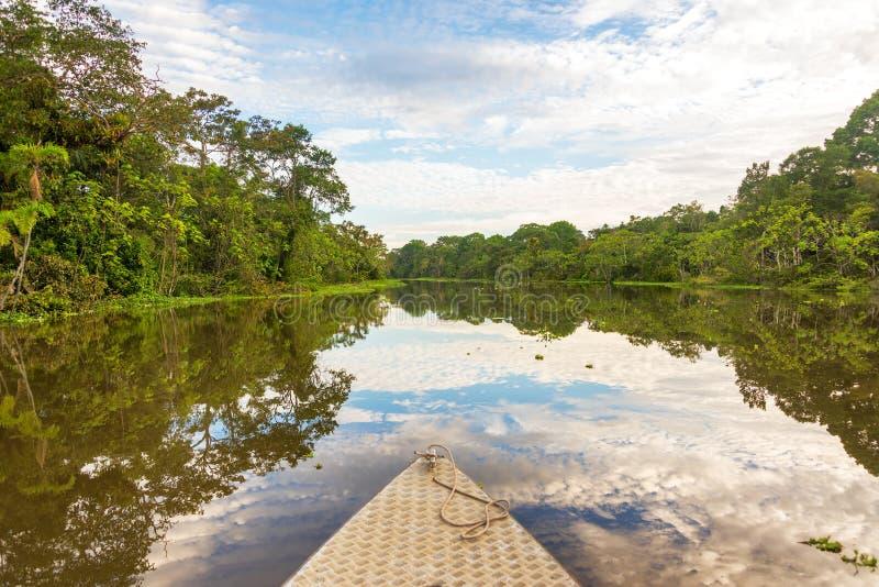 Boot en de Bezinning van Amazonië royalty-vrije stock foto's