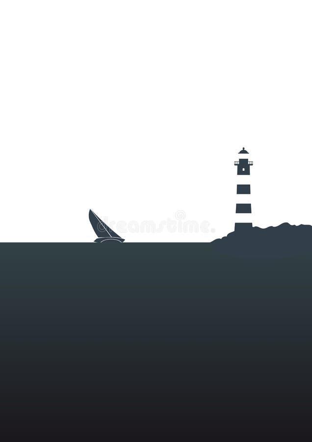 Boot en vuurtoren vector illustratie