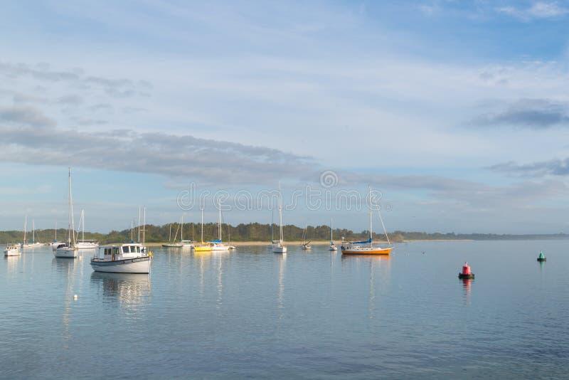 Boot am Hafen Macquarie, NSW, Australien lizenzfreies stockfoto
