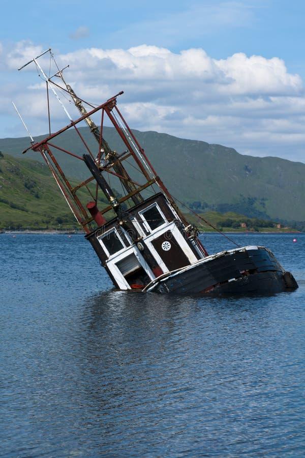 Boot, het dalen. vissersvaartuig, Loch Linnie royalty-vrije stock afbeelding