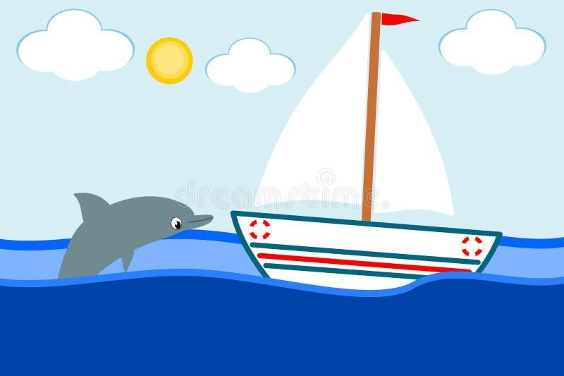 Boot in het overzees en de het glimlachen dolfijn royalty-vrije illustratie