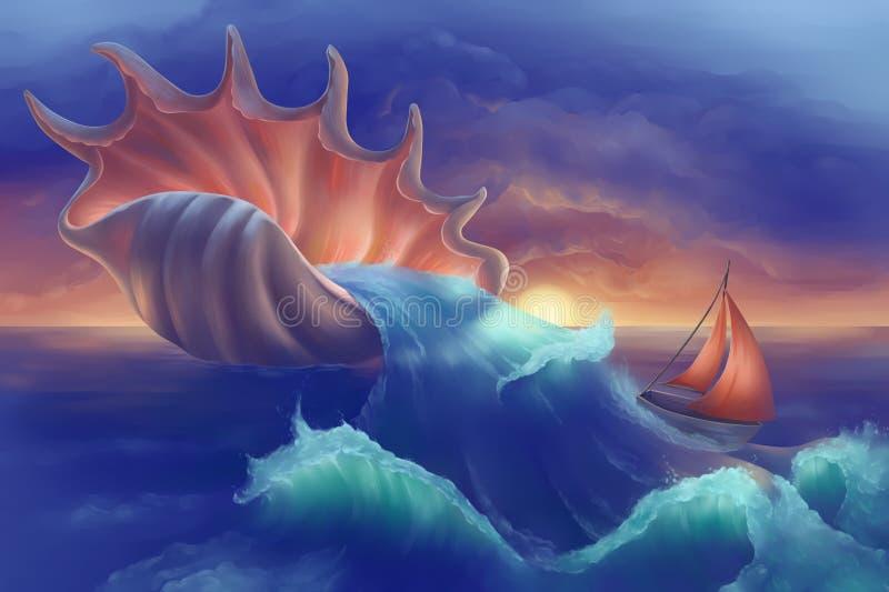 Boot im Ozean lizenzfreie abbildung