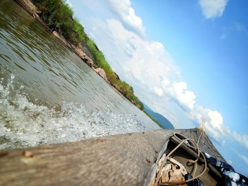 Boot in Khong-Rivier stock foto