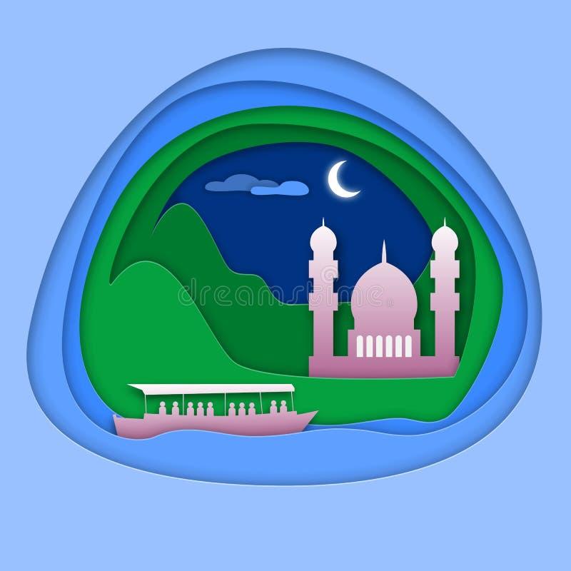 Boot in Meer mit Moschee nahe Berg Touristische Kartenillustration in der Papierschnittart stock abbildung