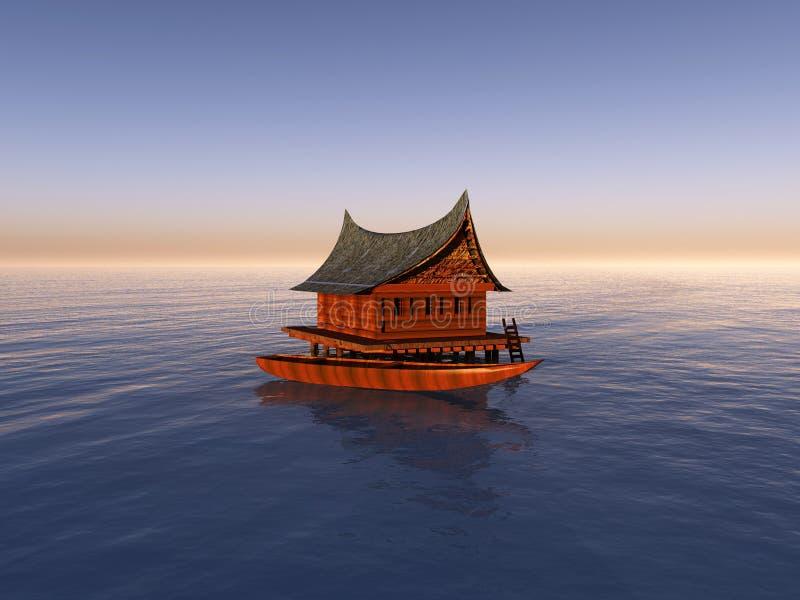 Boot met Botenhuis royalty-vrije illustratie