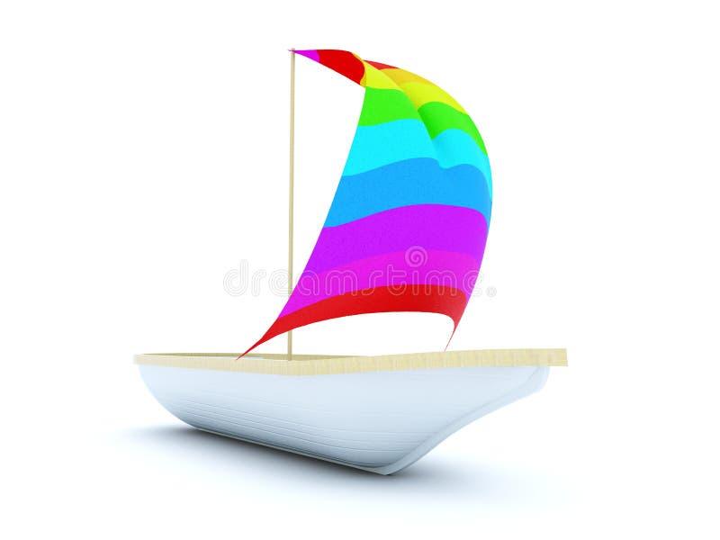 Boot met kleurenzeil vector illustratie