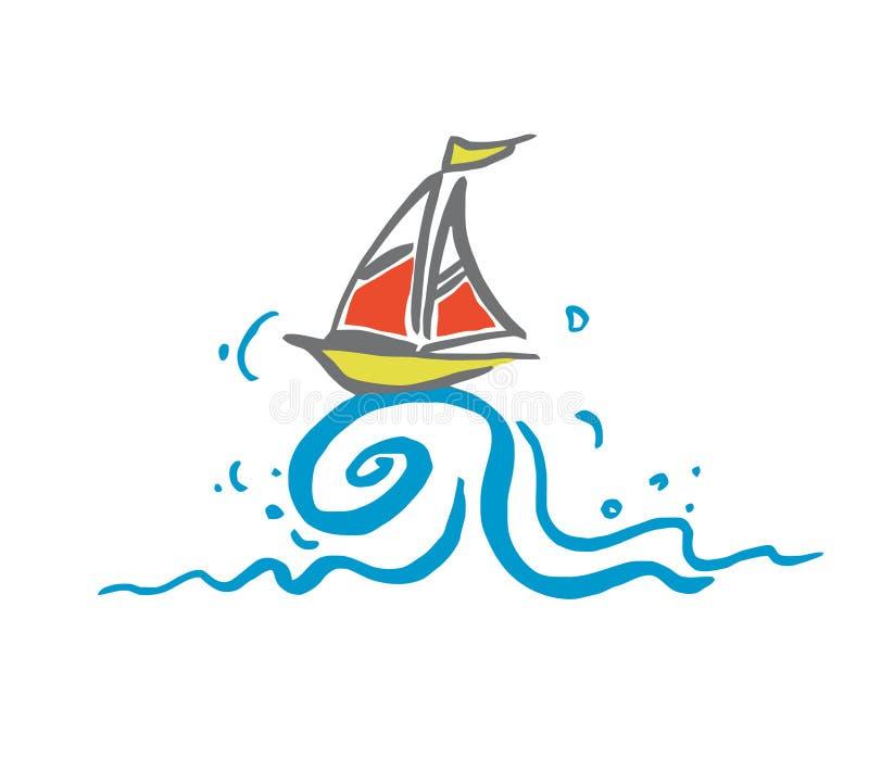 Boot op een Golf stock illustratie