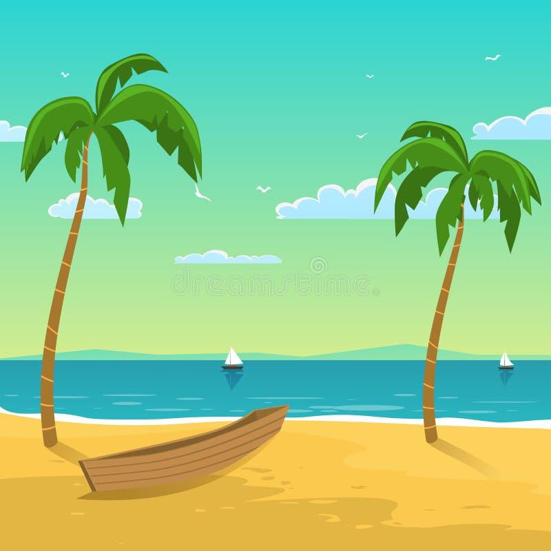 Boot op het strand royalty-vrije illustratie