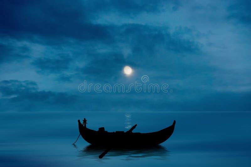 Boot op Meer Gemengde Media stock fotografie