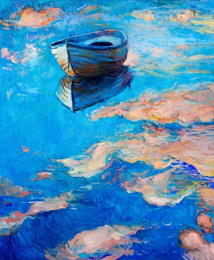 Boot op zee stock foto's