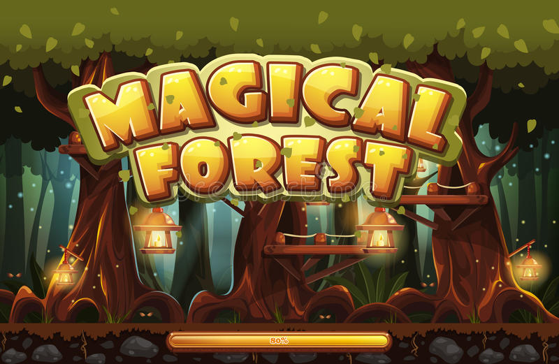 Boot screen to the computer game magic forest royalty free illustration