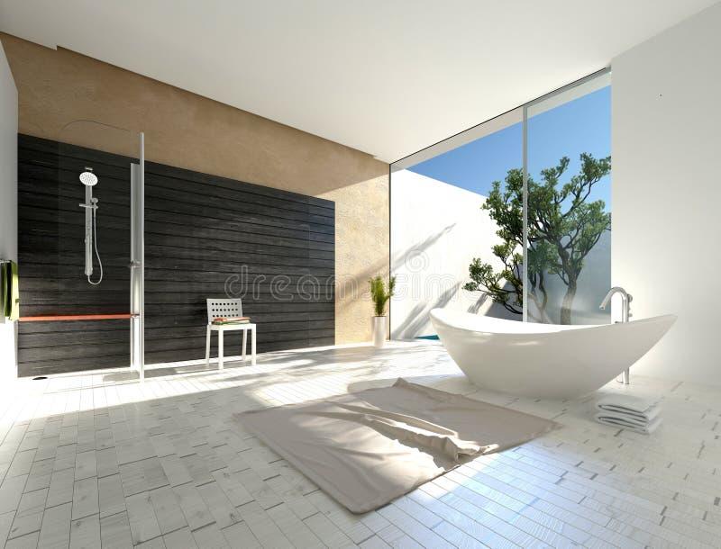 Boot-vormige ton in een moderne badkamers royalty-vrije illustratie