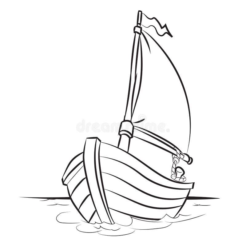 Bootbeeldverhaal - Lijn Getrokken Vector royalty-vrije illustratie