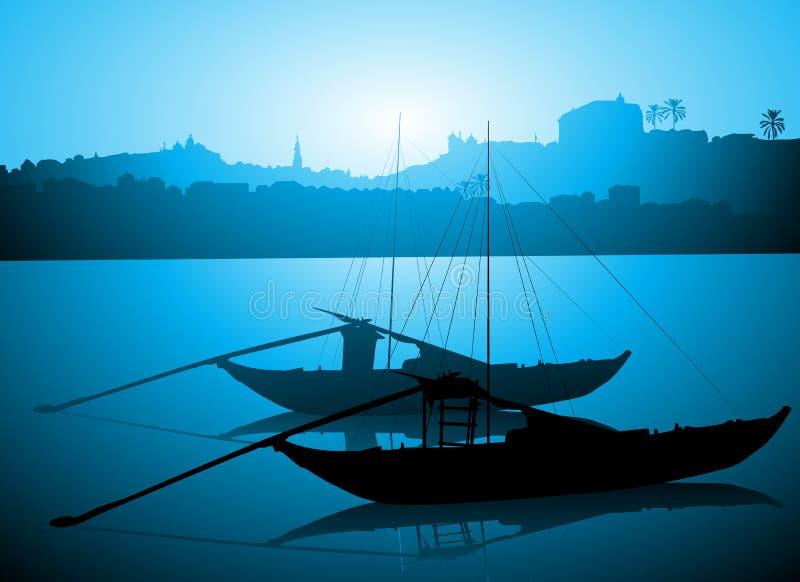 Boote auf Duero-Fluss, Porto Portugal stock abbildung