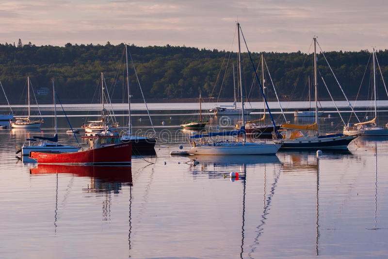 Boote in Boothbay-Hafen - Vertikale stockfotografie