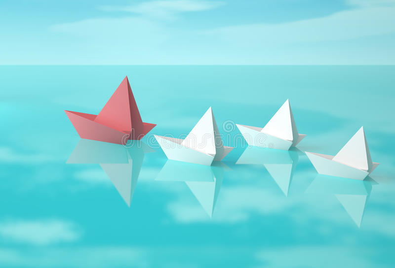 Boote des roten und Weißbuches auf Wasser tauchen auf stock abbildung