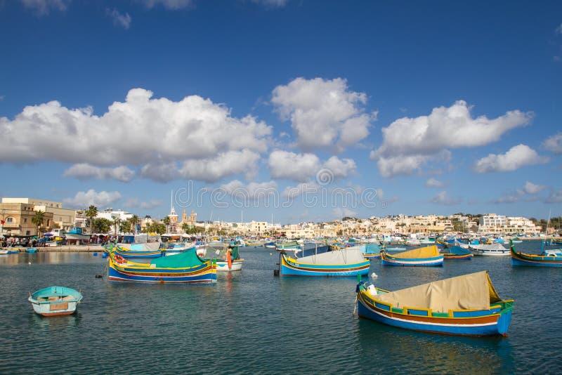Boote am Hafen von Marsashlock lizenzfreies stockbild