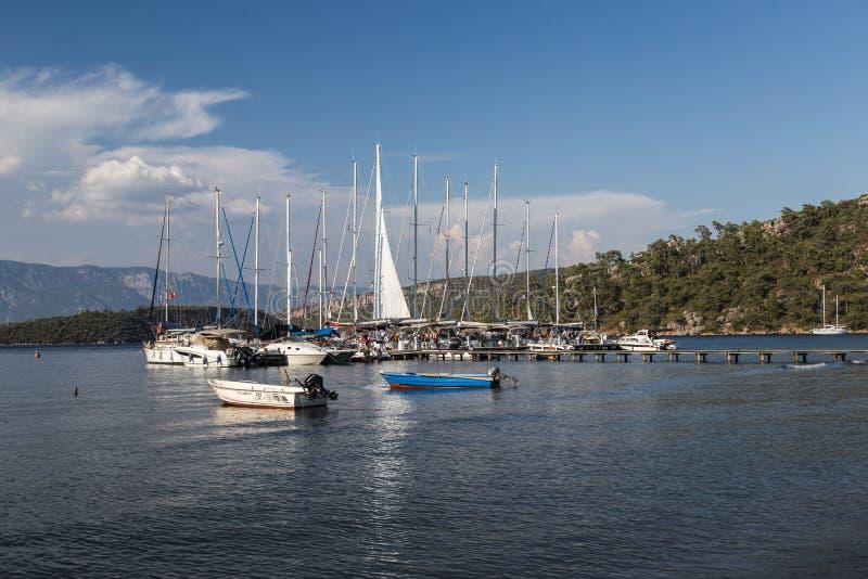 Boote im Hafen, Fethiye, die Türkei stockbilder