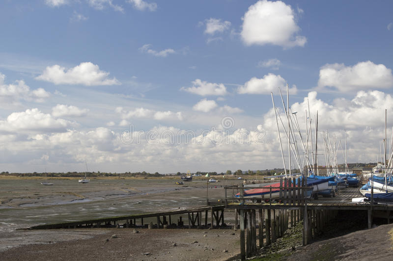 Boote in Leigh-auf-Meer, Essex, England stockfoto