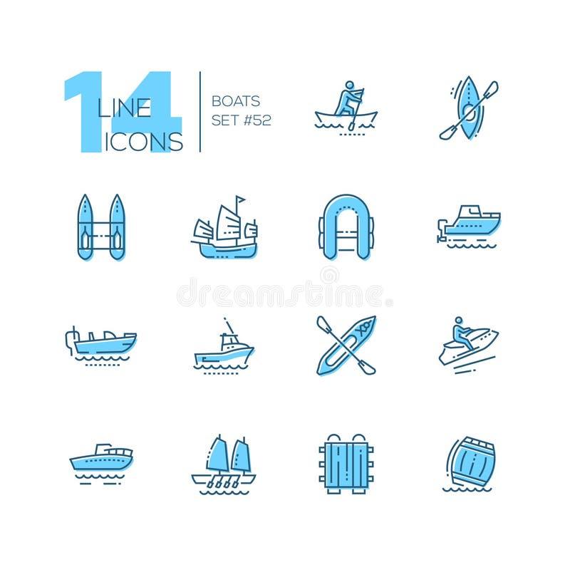 Boote - moderne dünne Linie Designikonen eingestellt vektor abbildung