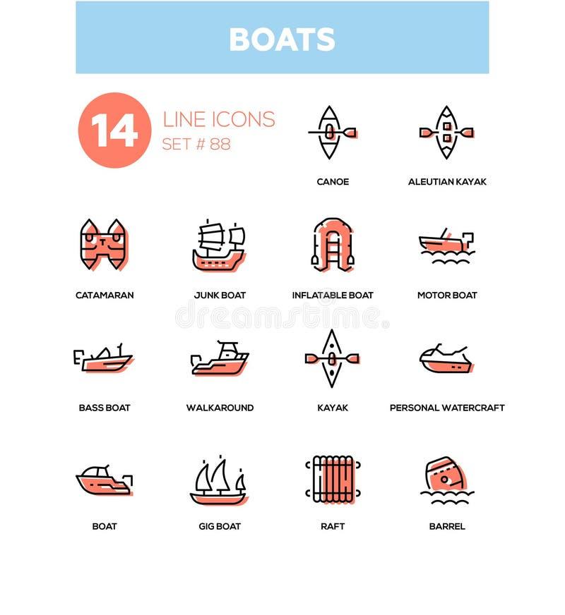 Boote - moderne Linie Designikonen eingestellt vektor abbildung