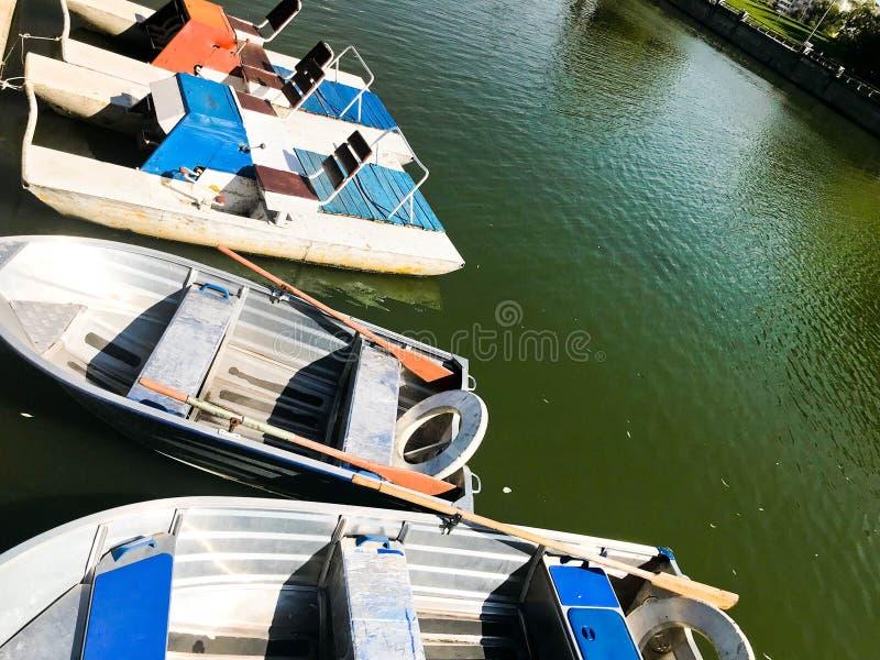 Boote und Katamaran auf einem Teichsee in einem Flusskanal mit grünem geblühtem Wasser werden auf dem Ufer festgemacht stockfotografie