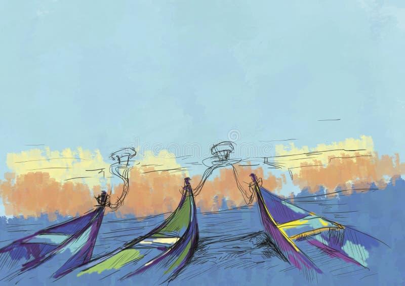 Boote und Meer stock abbildung