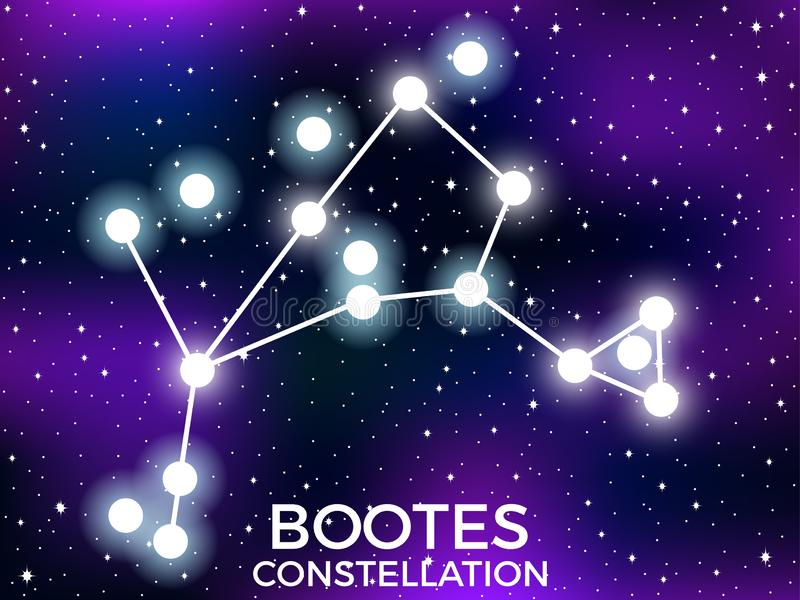 Bootes constellation. Starry night sky. Cluster of stars and galaxies. Deep space. Vector. Illustration vector illustration