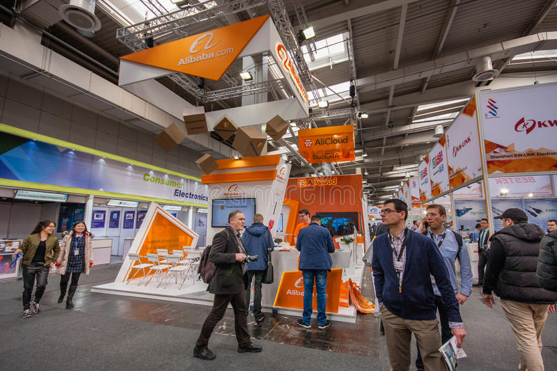 Booth of Alibaba Group at CeBIT information technology trade show. HANNOVER, GERMANY - MARCH 14, 2016: Booth of Alibaba Group at CeBIT information technology royalty free stock image