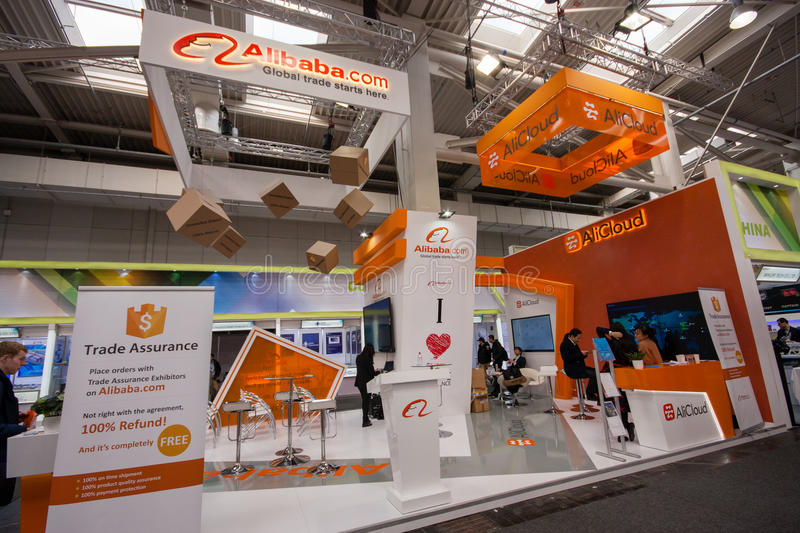 Booth of Alibaba Group at CeBIT information technology trade show. HANNOVER, GERMANY - MARCH 14, 2016: Booth of Alibaba Group at CeBIT information technology royalty free stock photography