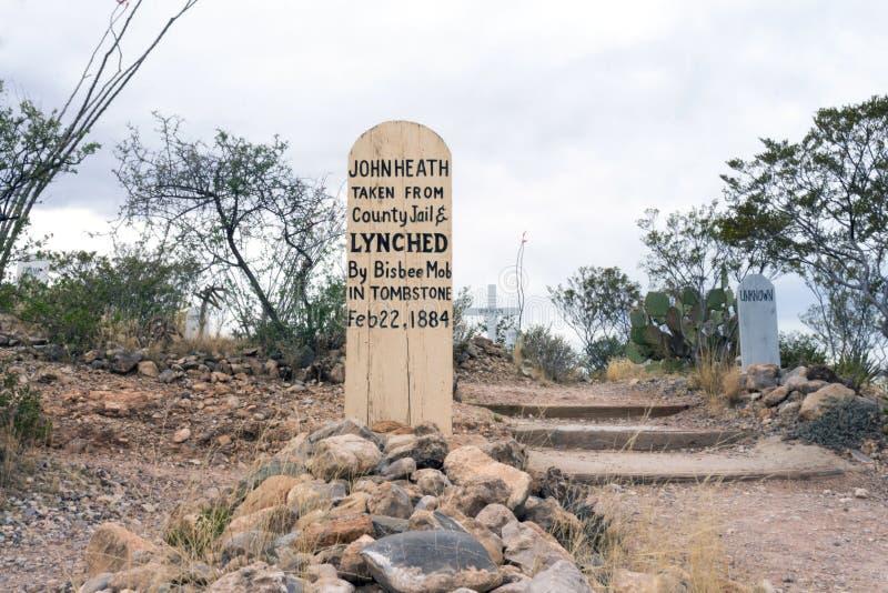 Boothill cmentarz w nagrobku, Arizona fotografia stock