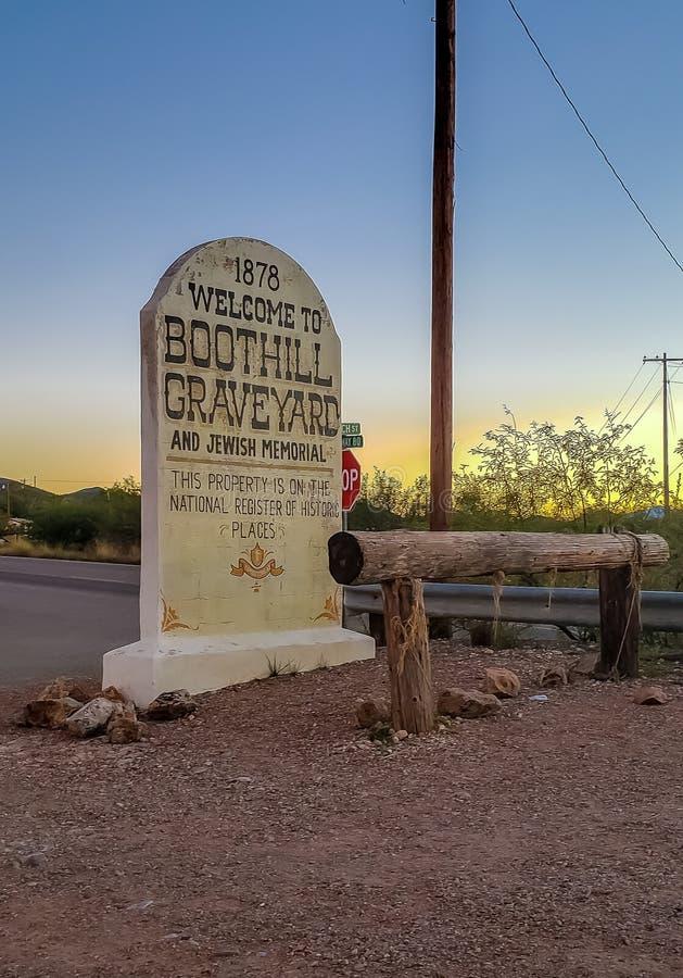 Boothillkerkhof in Grafsteen Arizona royalty-vrije stock afbeelding