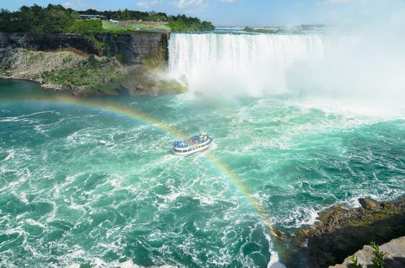 Boothoogtepunt met toerist die onder dubbele regenboog op de manier t overgaan royalty-vrije stock afbeelding