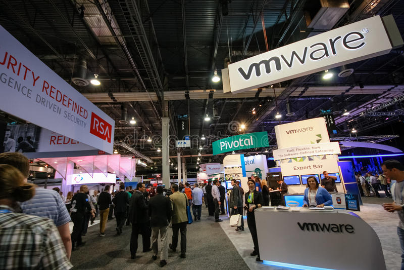 Booths of RSA, Pivotal and VMware companies at EMC World. LAS VEGAS, NV, USA – MAY 5, 2014: Booths of RSA, Pivotal and VMware companies at EMC World 2014 stock images