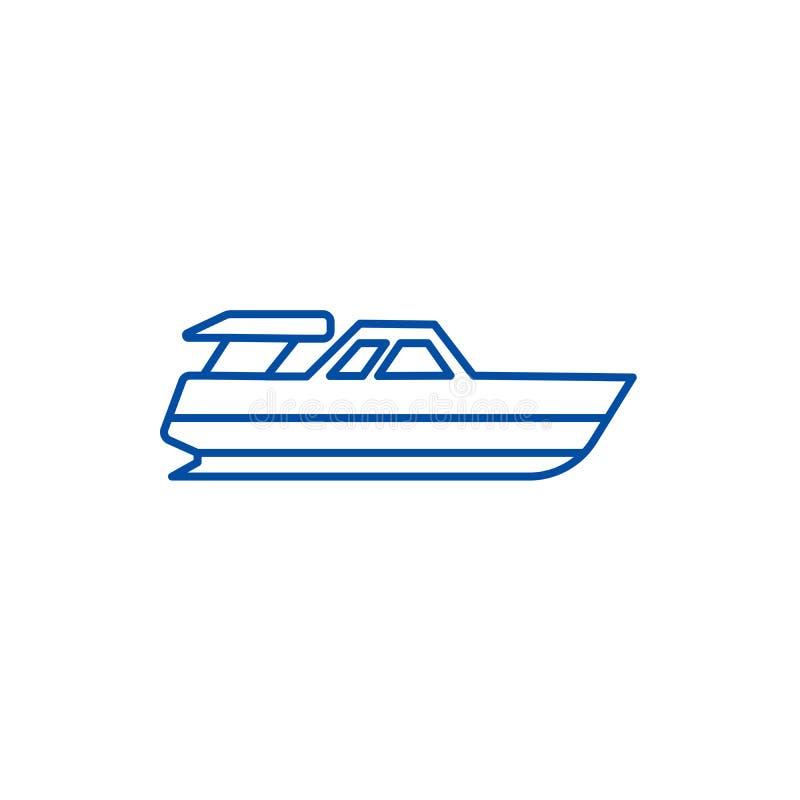 Bootlancering, het pictogramconcept van de jachtlijn Bootlancering, jacht vlak vectorsymbool, teken, overzichtsillustratie vector illustratie